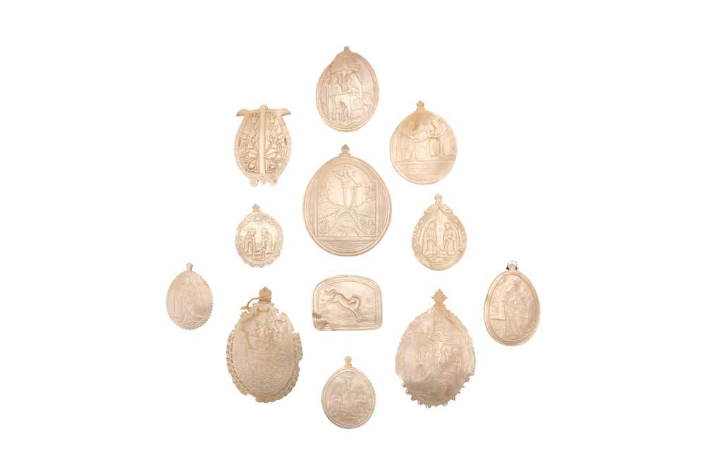 A COLLECTION OF TEN 19TH / 20TH CENTURY JERUSALEM MOTHER OF PEARL CARVED MOTHER OF PEARL RELIEFS