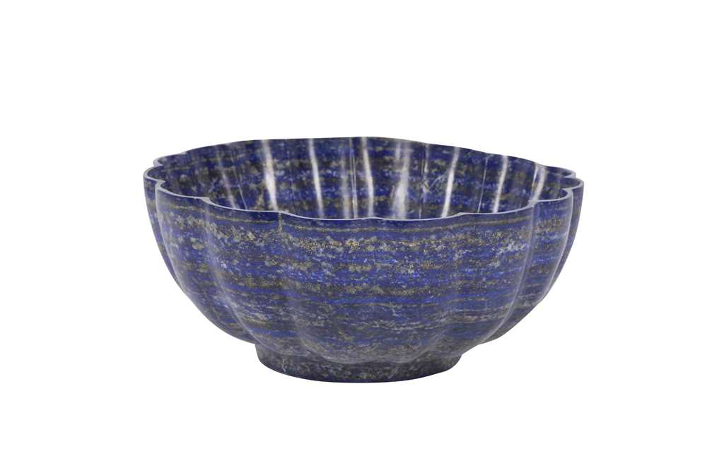A SOLID CARVED LAPIS LAZULI BOWL