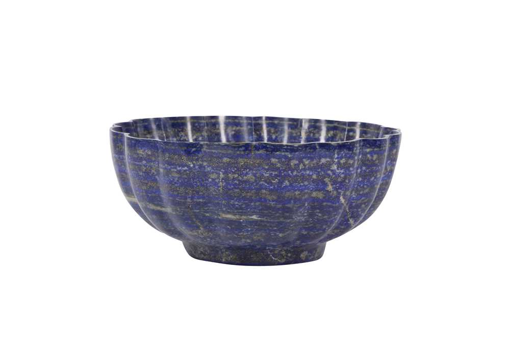 A SOLID CARVED LAPIS LAZULI BOWL - Image 3 of 3