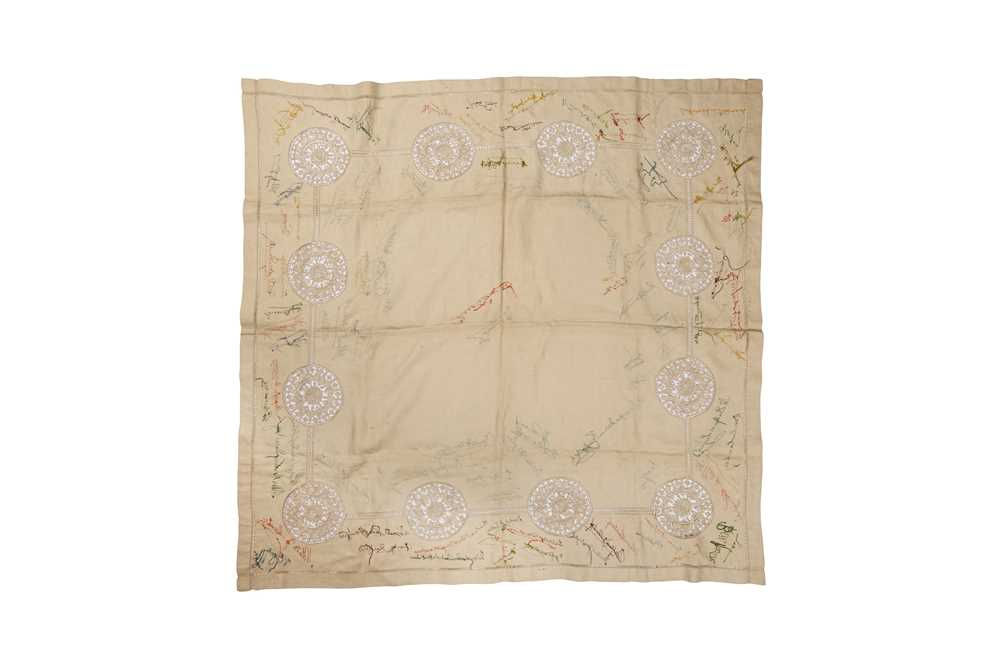 EARLY 20TH CENTURY TABLECLOTH WITH EMBROIDERED SIGNATURES