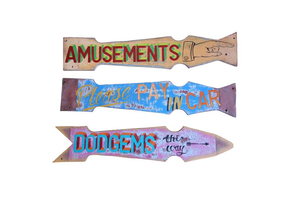 A SET OF THREE EARLY HANGING PAINTED WOOD FAIRGROUND SIGNS