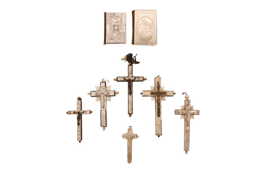 SIX 19TH CENTURY JERUSALEM MOTHER OF PEARL DECORATED CRUCIFIXES TOGETHER WITH TWO BOOKS