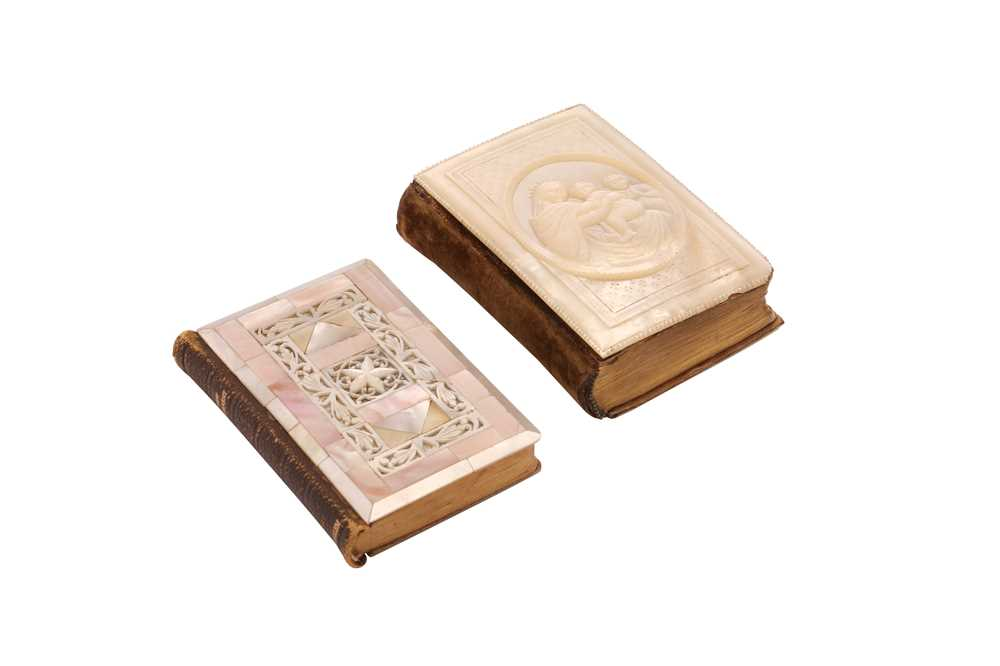 SIX 19TH CENTURY JERUSALEM MOTHER OF PEARL DECORATED CRUCIFIXES TOGETHER WITH TWO BOOKS - Image 2 of 6
