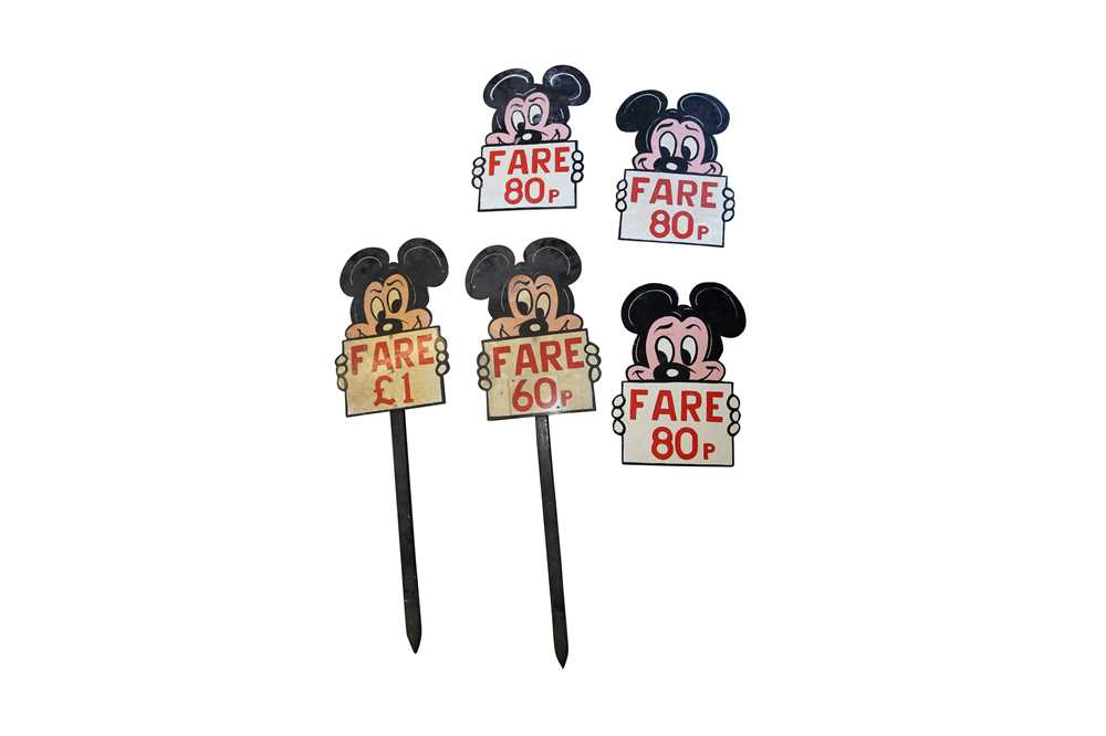 FIVE PAINTED WOOD MICKEY MOUSE FAIRGROUND SIGNS