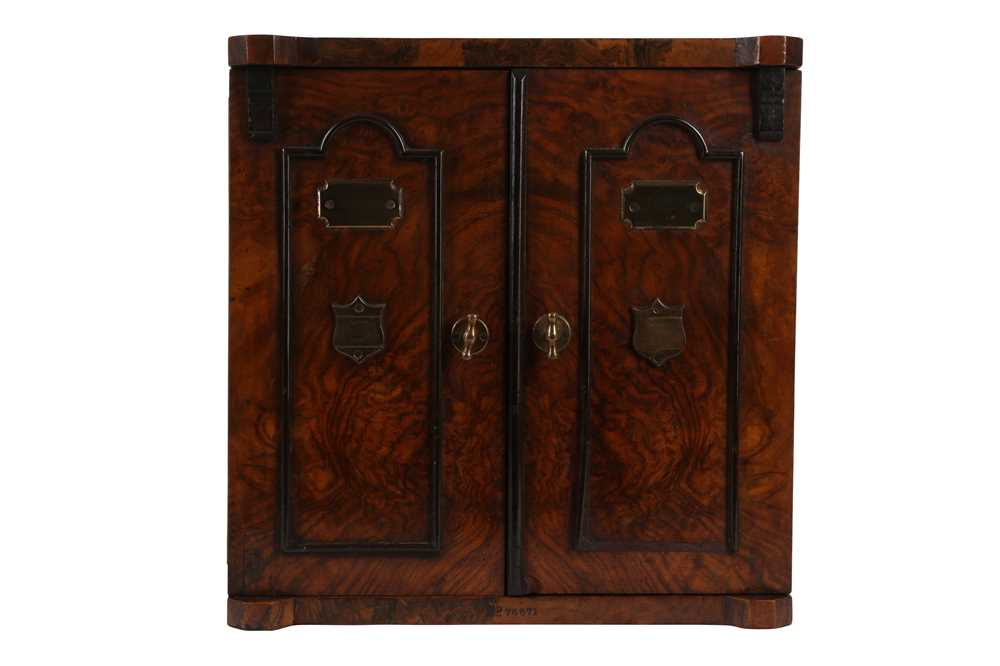 A FINE VICTORIAN BURR WALNUT AND BRASS MOUNTED SMOKER'S CABINET - Image 3 of 3