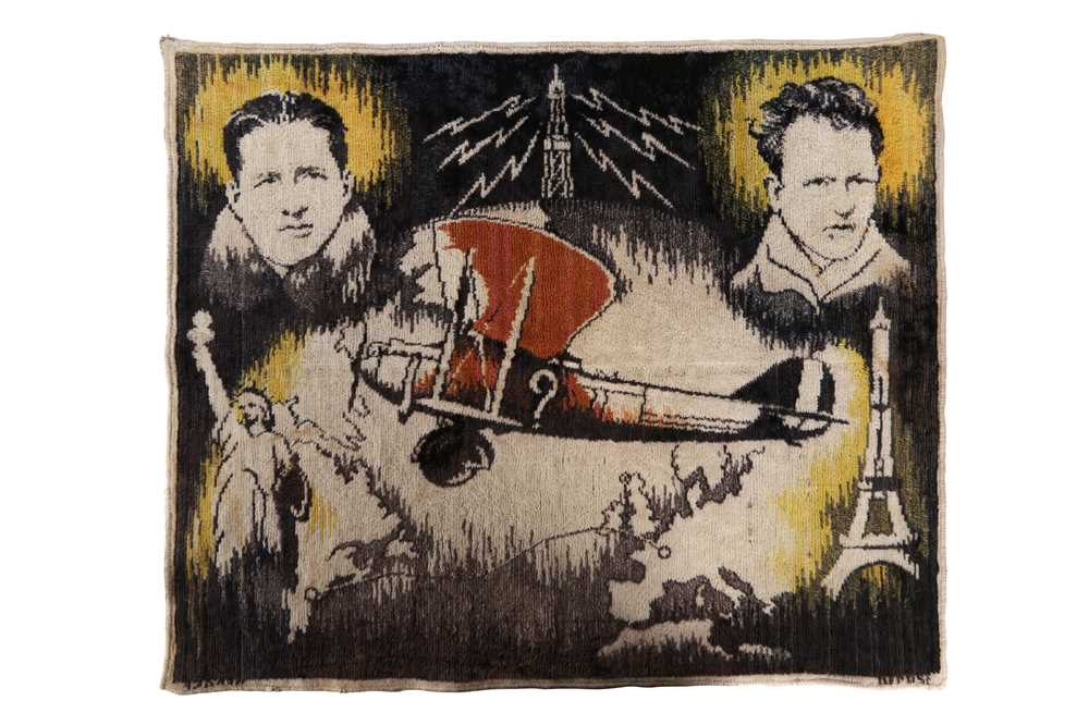 A 1930'S BELGIAN TEXTILE COMMEMORATING COSTE AND BELLONTE'S 1930 RECORD BREAKING FLIGHT