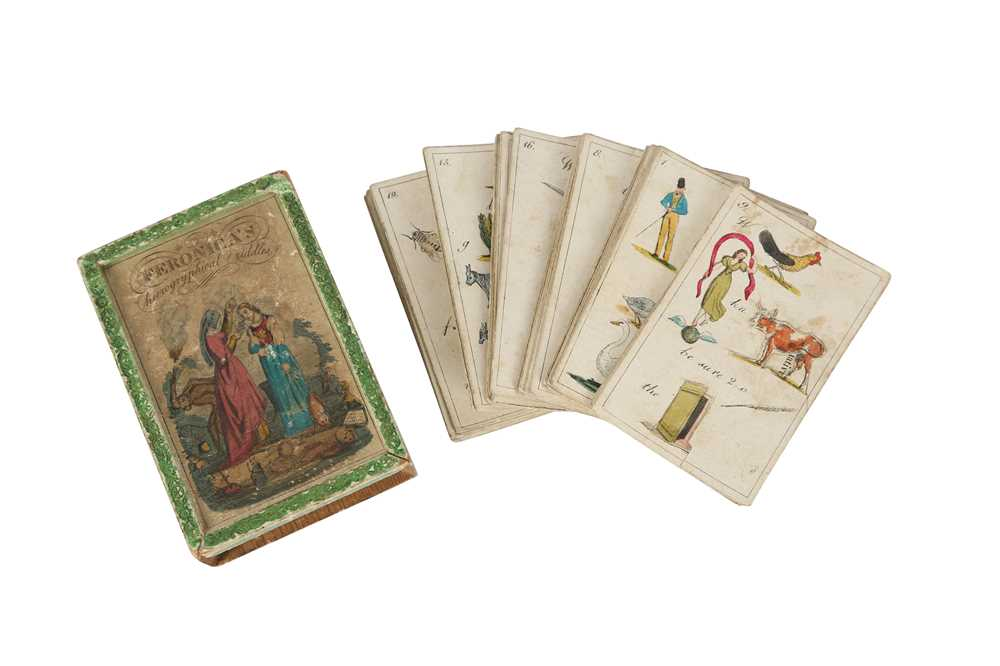 A RARE COMPLETE SET OF GEORGIAN HIEROGRYPHICAL RIDDLE CARDS CIRCA 1800 FERONICA'S HIEROGRYPHICAL RID