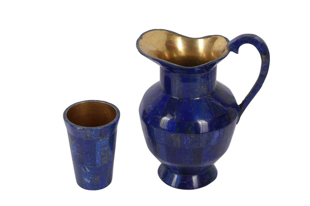 A LAPIS VENEERED AND BRASS MOUNTED JUG AND CUP SET - Image 3 of 3