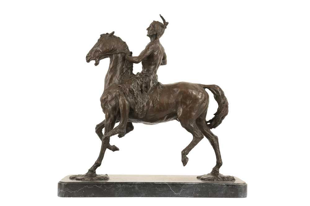 A BRONZE EQUESTRIAN MODEL OF A NATIVE AMERICAN INDIAN ON HORSEBACK