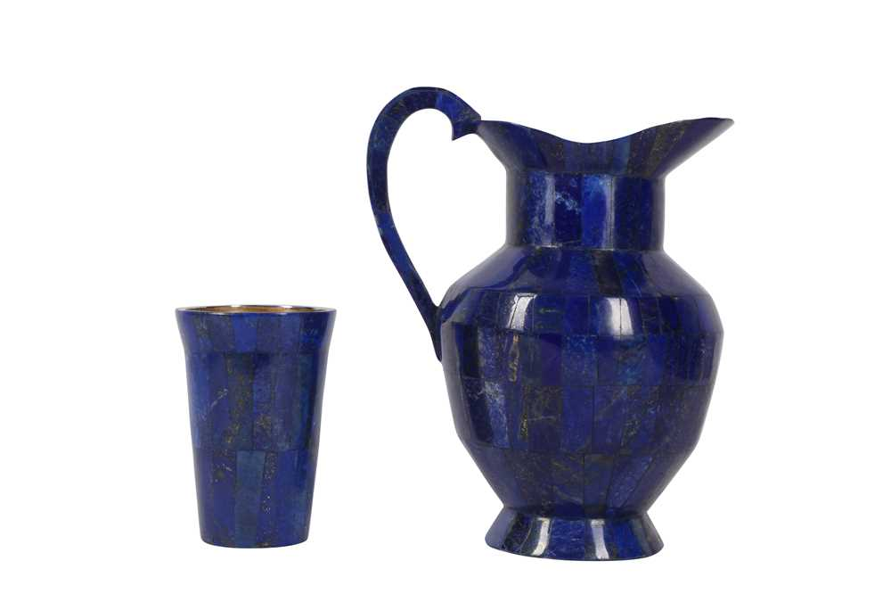 A LAPIS VENEERED AND BRASS MOUNTED JUG AND CUP SET - Image 2 of 3