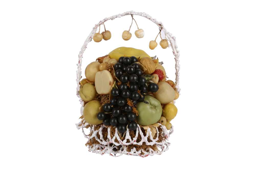 VICTORIANA/ NATURAL HISTORY: A VICTORIAN WAX FRUIT AND BASKET DISPLAY - Image 2 of 2