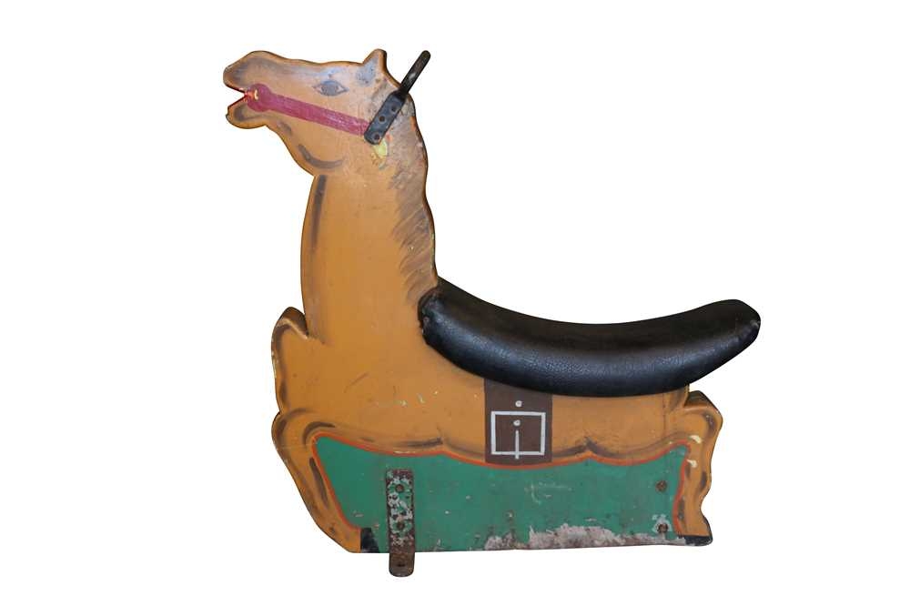 A PAINTED WOOD 1970'S OR 80'S FAIRGROUND HORSE