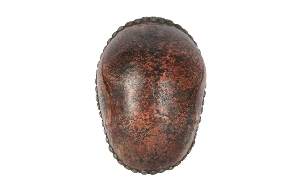 A RESIN MODEL OF A TIBETAN KAPALA HUMAN SKULL CAP