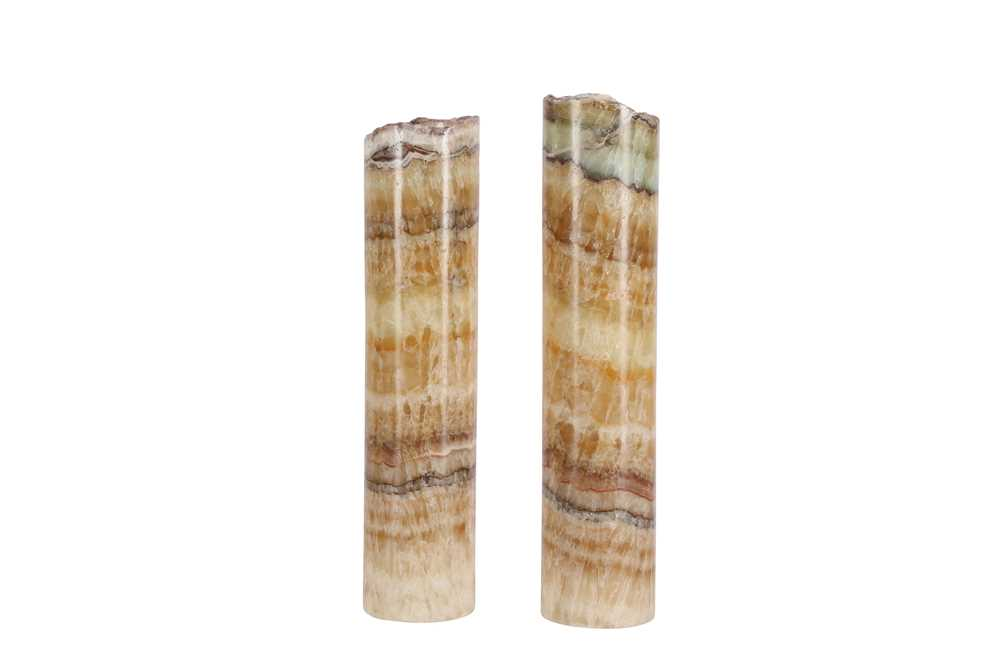 A PAIR OF CYLINDRICAL ONYX LAMP BASES - Image 2 of 2