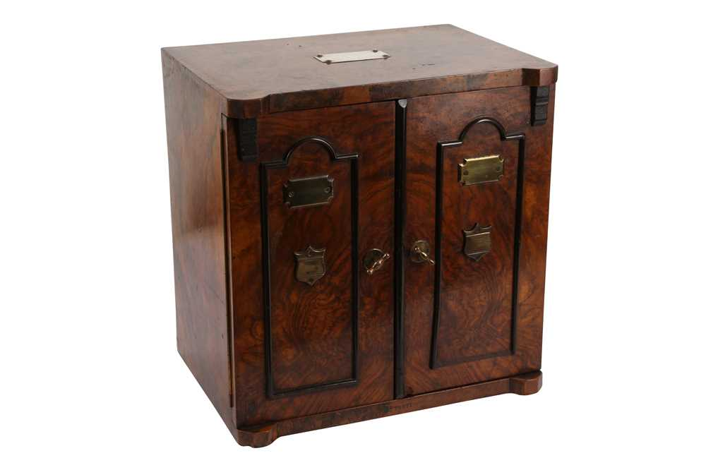 A FINE VICTORIAN BURR WALNUT AND BRASS MOUNTED SMOKER'S CABINET