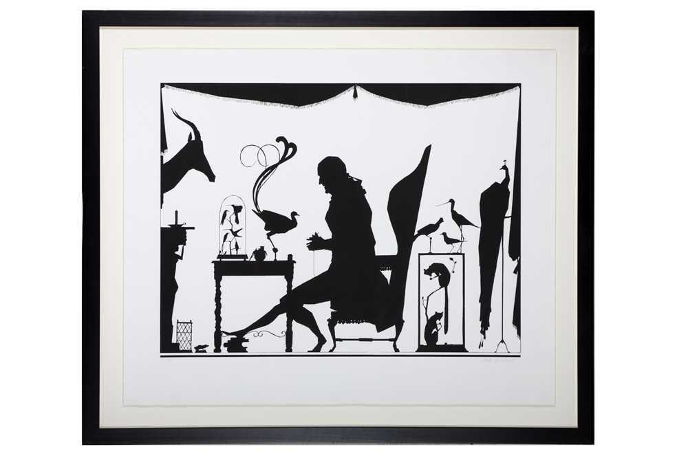 PABLO ECHEVARRIA (SPANISH, B.1963): A VERY LARGE SILHOUETTE ARTWORK OF A TAXIDERMIST