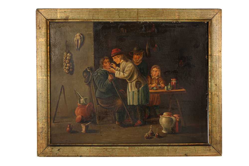 A 19TH CENTURY PRIMITIVE OIL ON BOARD PAINTING OF A DENTIST'S SCENE