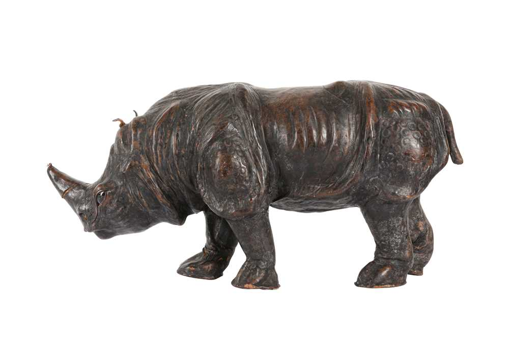 A LEATHER COVERED MODEL OF A RHINOCEROS, PROBABLY LATE 19TH / EARLY 20TH CENTURY