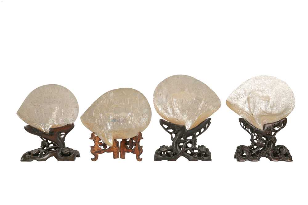 A COLLECTION OF FOUR 19TH CENTURY CHINESE PEARL SHELL CARVINGS, QING DYNASTY