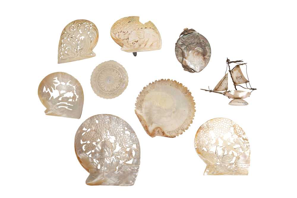 A COLLECTION OF NINE VARIOUS CARVED OYSTER / PEARL SHELLS OF VARIOUS DESIGN - Image 2 of 2