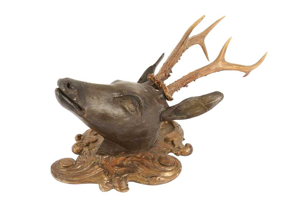 A LATE 19TH CENTURY AUSTRIAN CARVED WOOD AND ANTLER DEER HEAD TROPHY