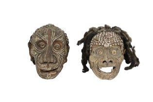 TRIBAL INTEREST: TWO SEPIK RIVER (PAPUA NEW GUINEA) HUMAN SKULLS