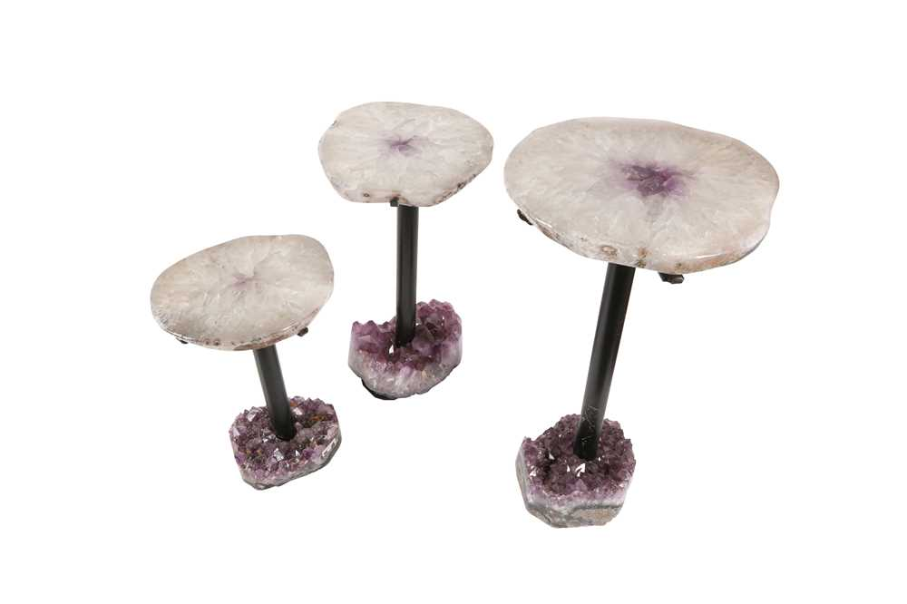 A SET OF THREE POLISHED QUARTZ AND AMETHYST TABLES, SOUTHERN BRAZIL