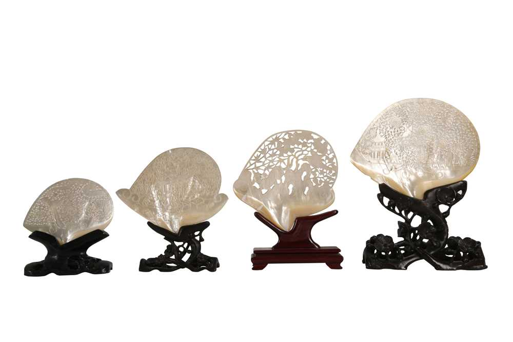 A COLLECTION OF FOUR 19TH CENTURY CHINESE PEARL SHELL CARVINGS, QING DYNASTY - Image 5 of 5