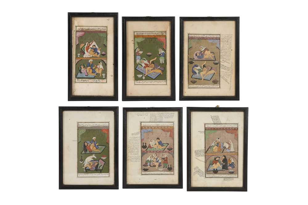 A SET OF SIX INDIAN 19TH / EARLY 20TH CENTURY EROTIC PAINTINGS