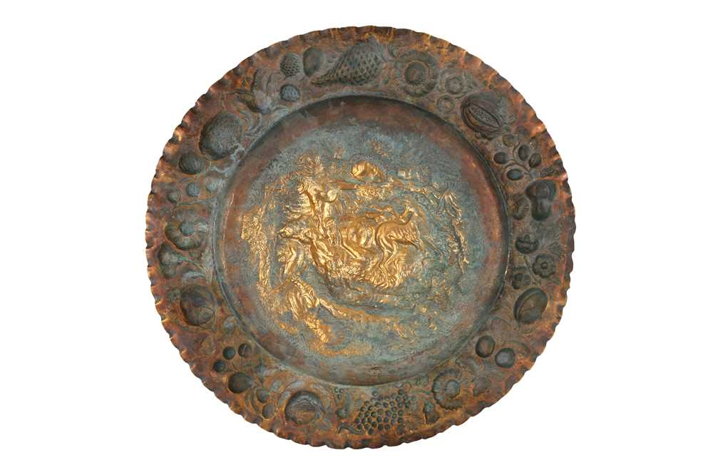 A MID 19TH CENTURY GILT METAL REPOUSSE DISH DEPICTING A BEAR HUNT, PROBABLY RUSSIAN - Image 2 of 2