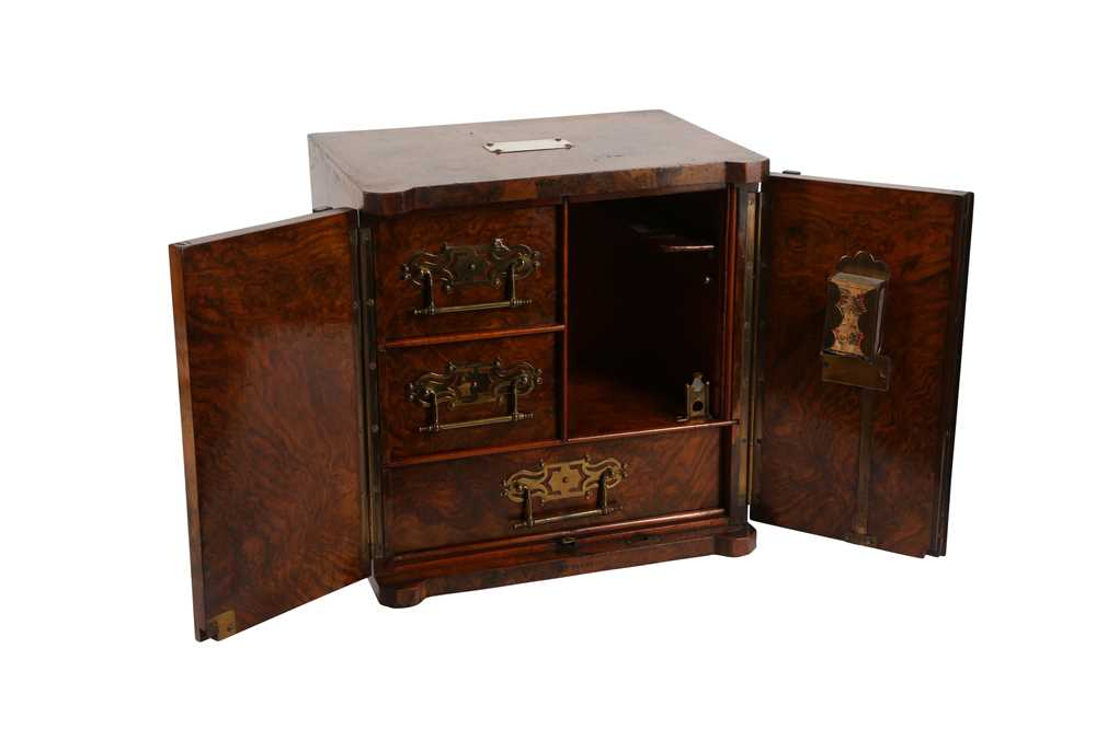 A FINE VICTORIAN BURR WALNUT AND BRASS MOUNTED SMOKER'S CABINET - Image 2 of 3
