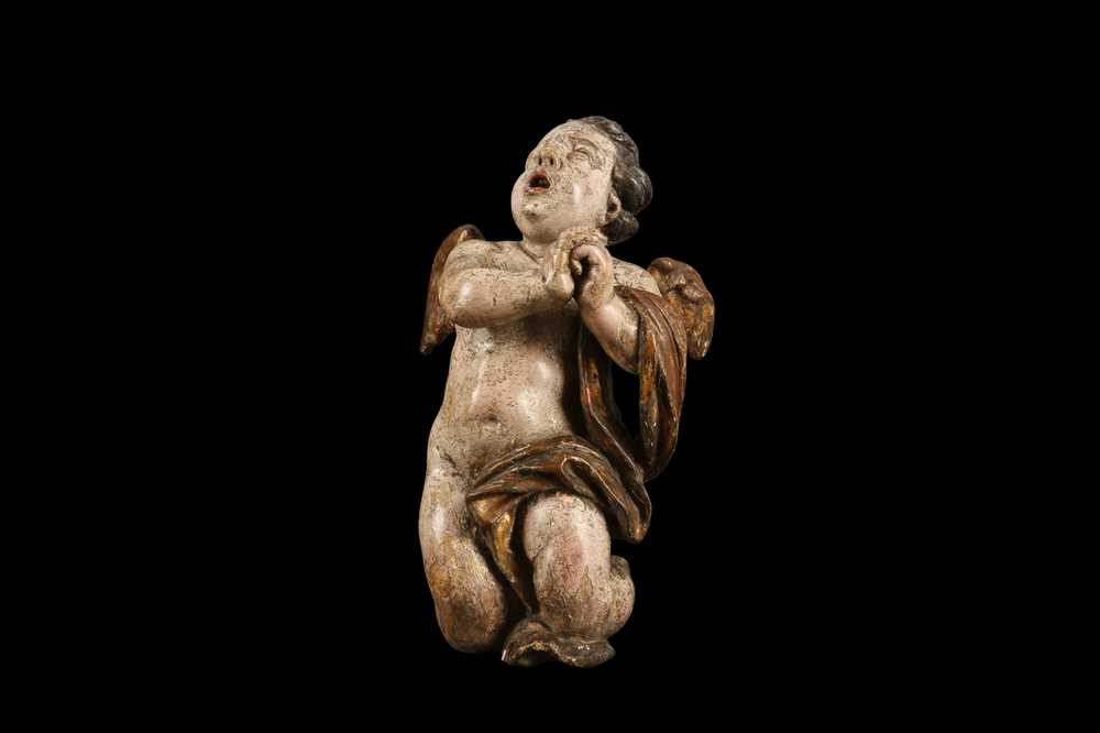 AN EARLY 17TH CENTURY SOUTH GERMAN POLYCHROME DECORATED AND CARVED WOOD FIGURE OF A CHERUB - Image 7 of 7