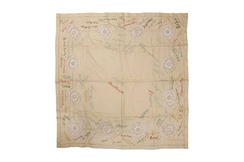 EARLY 20TH CENTURY TABLECLOTH WITH EMBROIDERED SIGNATURES - Image 2 of 2
