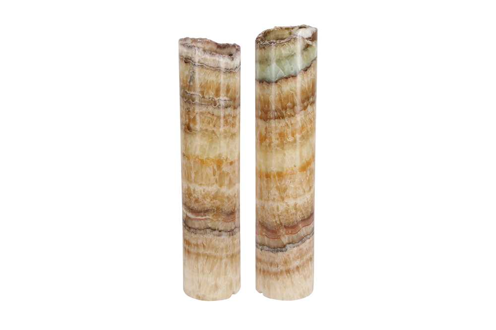 A PAIR OF CYLINDRICAL ONYX LAMP BASES