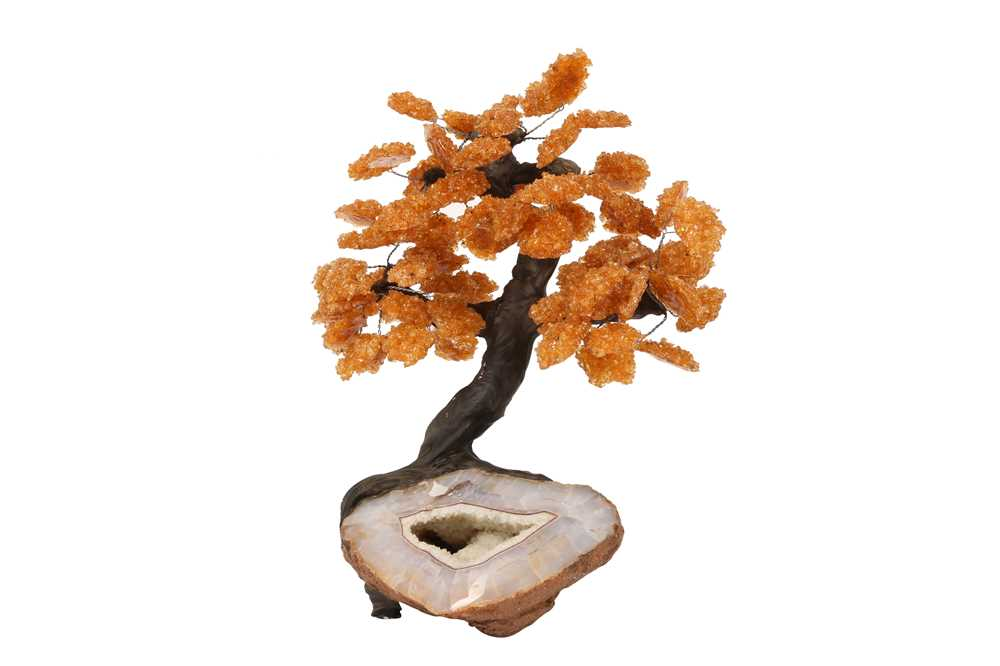 AN AGATE GEODE AND CITRINE MODEL OF A TREE IN BLOSSOM