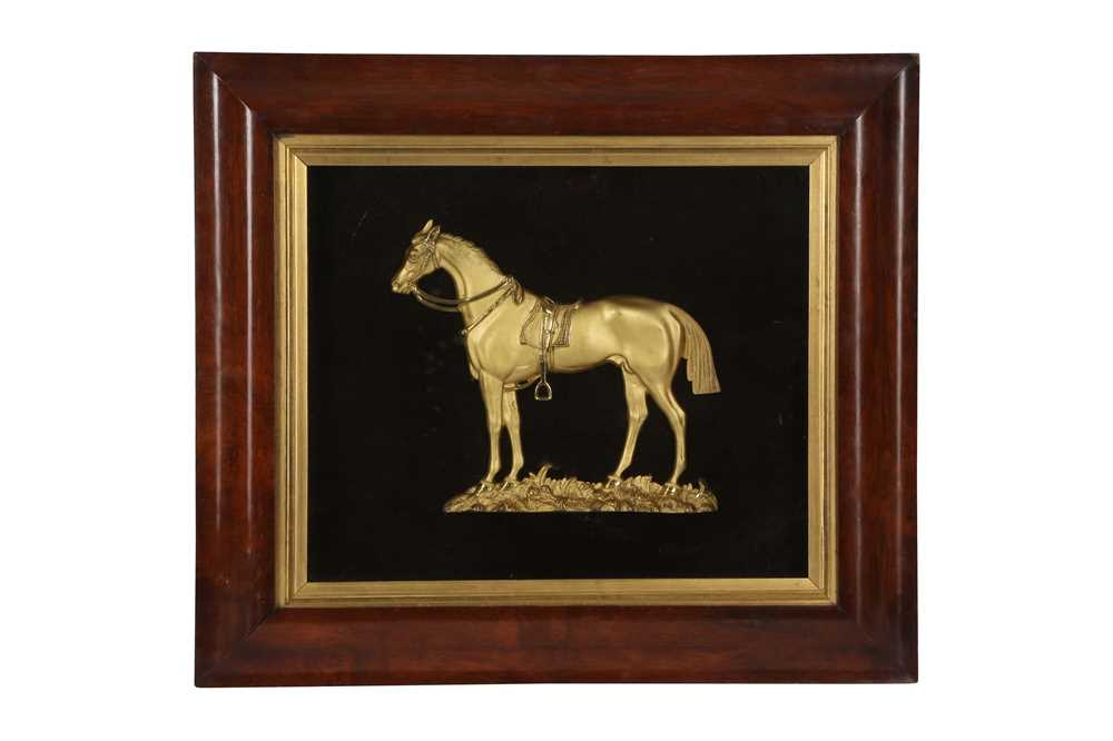 A 19TH CENTURY GILT METAL RELIEF DEPICTING A HORSE, POSSIBLY COPENHAGEN