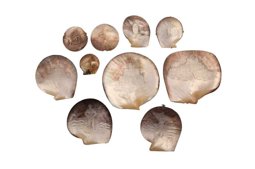A COLLECTION OF TEN 19TH CENTURY FRENCH CARVED OYSTER SHELLS