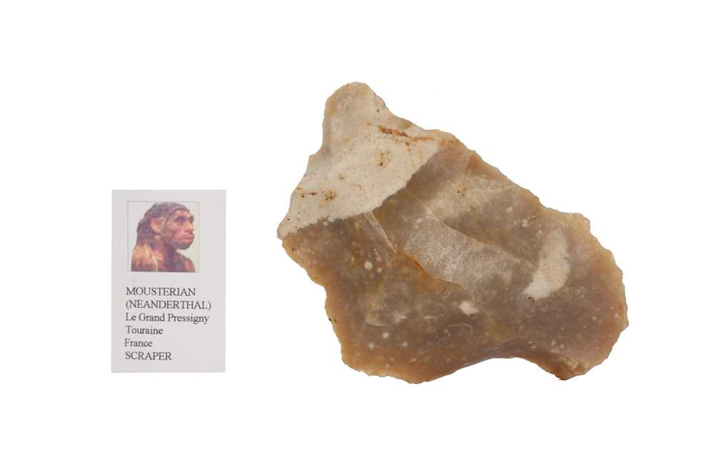 THREE NEANDERTHAL STONE TOOLS IN VICTORIAN MUSEUM BOXES - Image 3 of 5