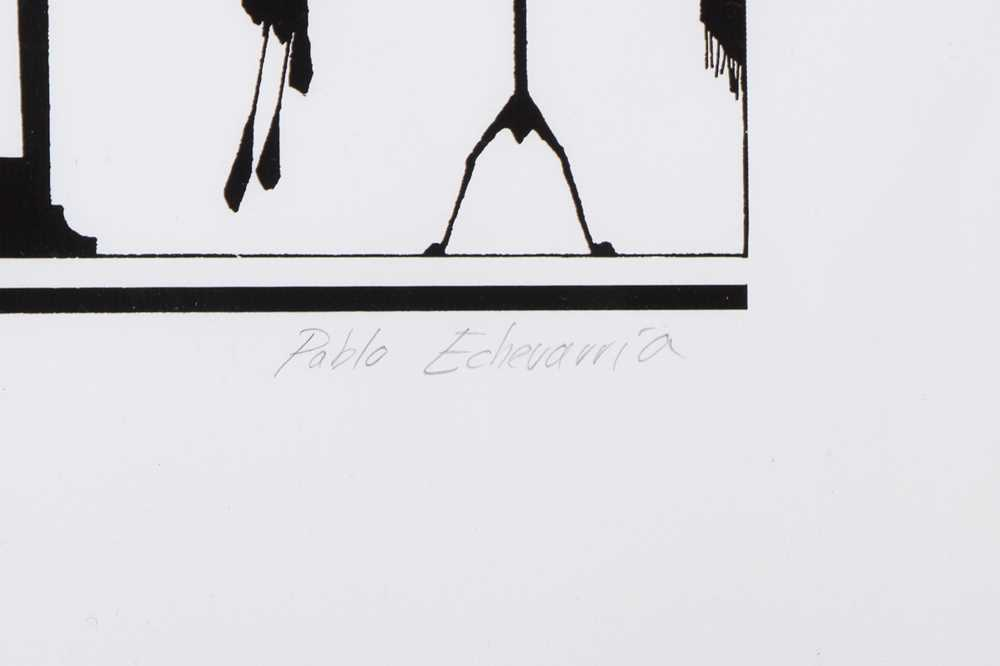 PABLO ECHEVARRIA (SPANISH, B.1963): A VERY LARGE SILHOUETTE ARTWORK OF A TAXIDERMIST - Image 2 of 3