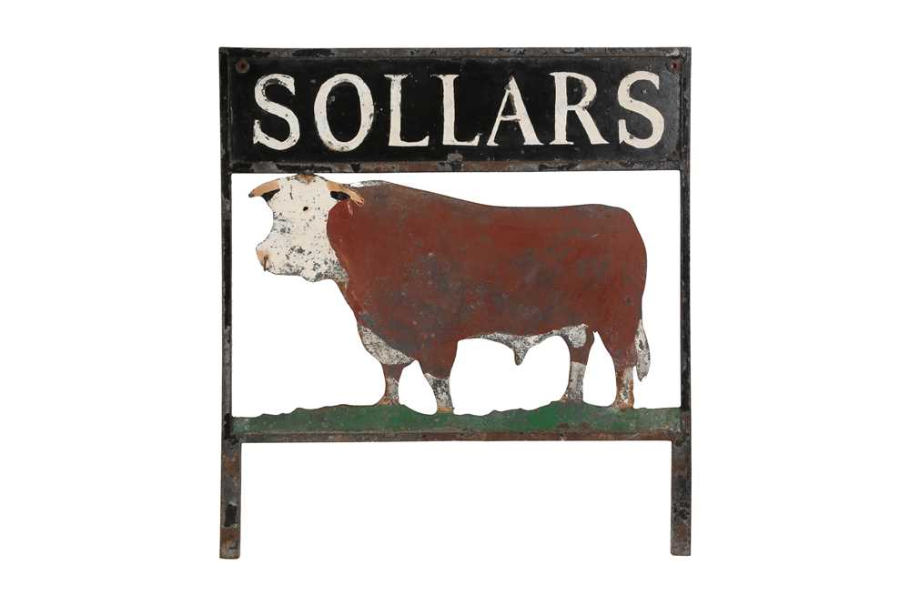 AN EARLY 20TH CENTURY PAINTED METAL SHOP SIGN