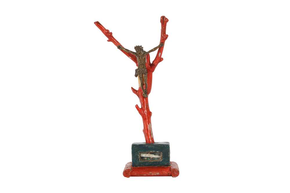 A 19TH CENTURY PAINTED WOOD, FAUX CORAL AND BRONZE CRUCIFIX