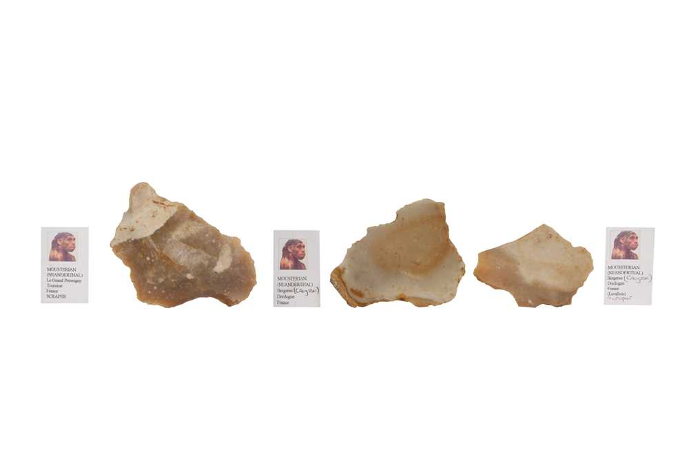 THREE NEANDERTHAL STONE TOOLS IN VICTORIAN MUSEUM BOXES