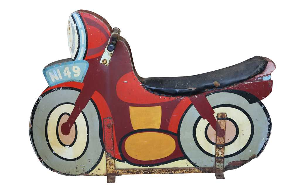 A 1950'S / 60'S PAINTED WOOD FAIRGROUND RIDE MOTORBIKE