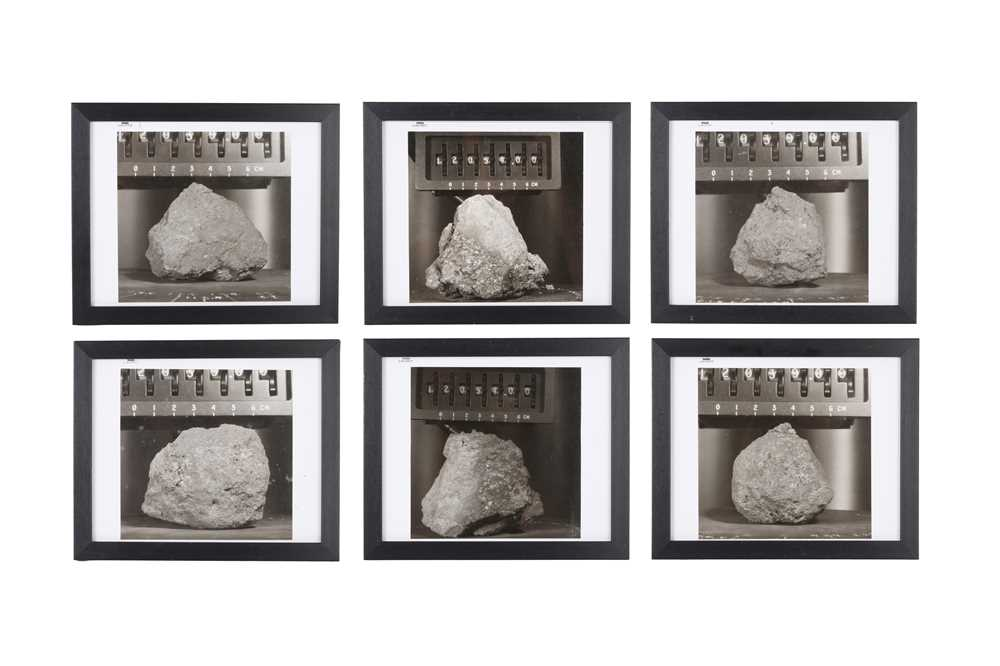 A SET OF SIX VINTAGE PRINTS OF MOON ROCKS COLLECTED BY THE ASTRONAUTS OF APOLLO 12 CIRCA 1969