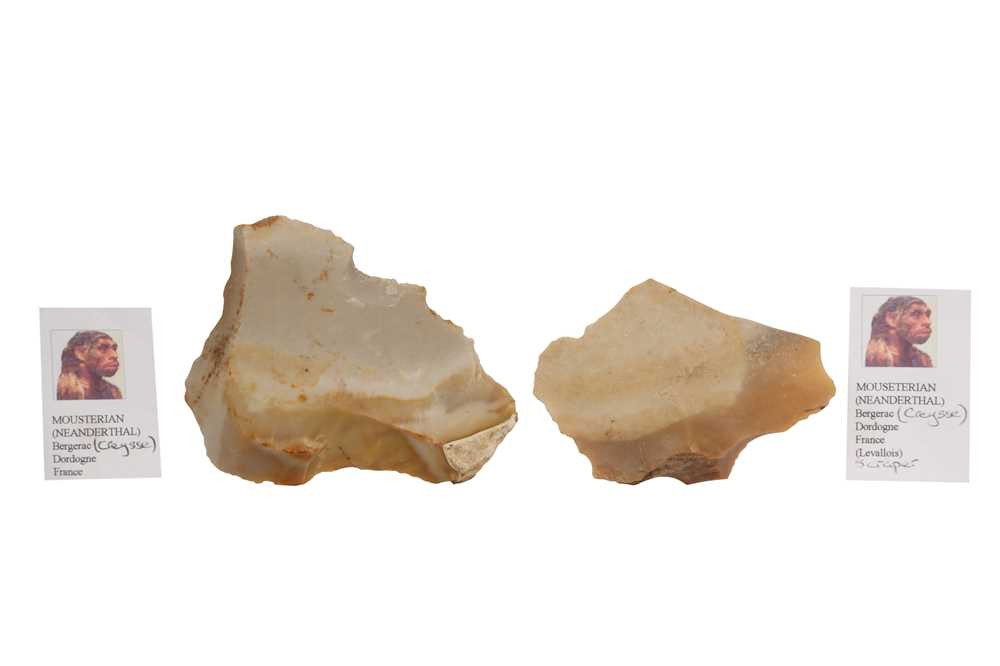 THREE NEANDERTHAL STONE TOOLS IN VICTORIAN MUSEUM BOXES - Image 5 of 5