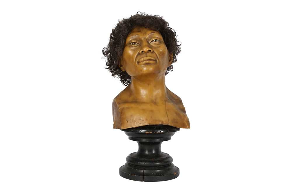 A LATE 19TH / EARLY 20TH CENTURY WAX HEAD OF A NEANDERTHAL MAN