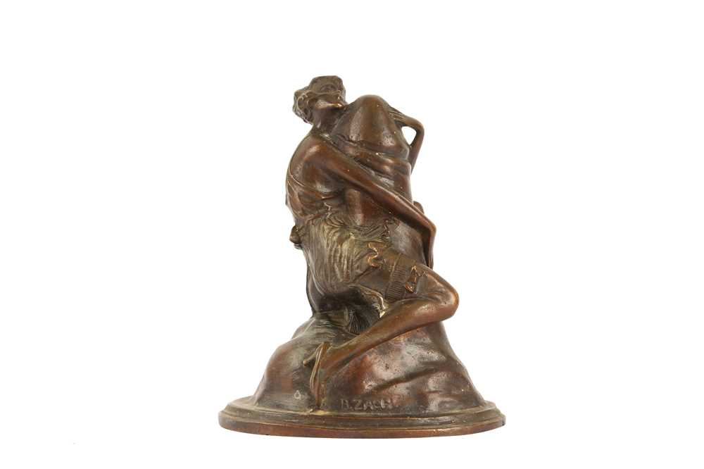 AFTER BRUNO ZACH (1891-1935): A 20TH CENTUY EROTIC BRONZE OF A WOMAN HUGGING A PHALLUS 'THE EMBRACE'