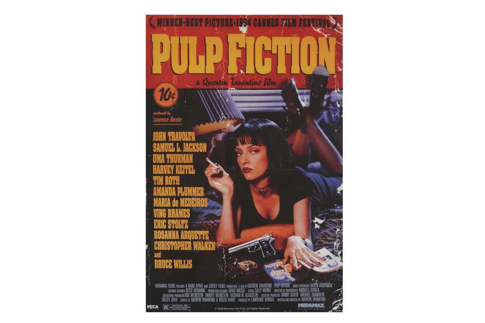 A SCREENPRINT OF THE PROMOTIONAL POSTER FOR PULP FICTION