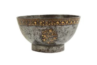 A FINE QAJAR GOLD-DAMASCENED STEEL CUP Iran, 19th century