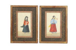 TWO SMALL ALBUM PAGES WITH PORTRAITS OF QAJAR BEAUTIES Qajar Iran, 19th century